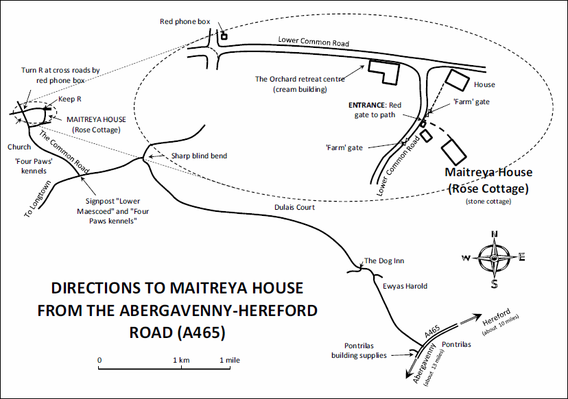 Large-scale map showing the route from Hereford-Abergavenny road (A465) to Maitreya House