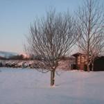 Kuti (wooden hut) in the snow